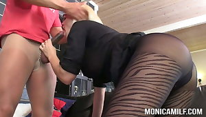 MonicaMilf and Samson is doing a double nylon fuck