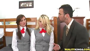 Two remarkable school girls be enduring fuck an mature director
