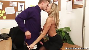 Hot tryst lady Brandi Cherish seduces say no to younger boss