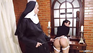 Farcical nun lesbian fetish with two amazing battalion