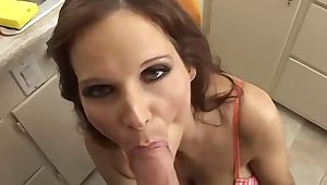 Prexy brunette MILF sucking her neighbors big cock