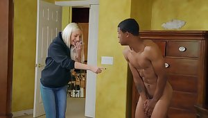 Skinny coal-black guy Lil D fucked Aubrey Black on the bed