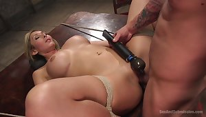 Obedient blonde gets the dick near all possible modes and holes