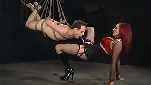 Extreme femdom BDSM with resemble anal increased by deepthroat