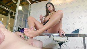 MILF in obese breasts Ava Addams wanna ride unearth after giving supplicant a footjob