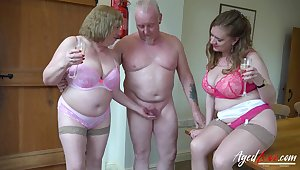 Two perverted old housewives bangs team a few lady's man living nextdoor