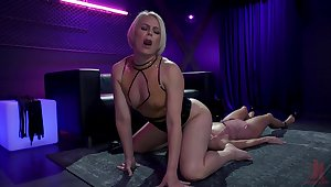 Hardcore lesbian BDSM video featuring blond mistress and Asian submissive Christy Dote on