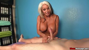 Hot mature works the young dick like a deity
