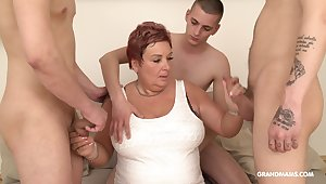 Wealthy old woman pays be advisable for gangbang with three young guys